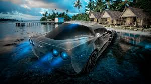 chevrolet corvette zr1 crystal water nature car