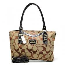 Coach Logo In Signature Large Khaki Totes CBU