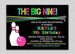 Bowling Party Invitations Laser Tag Bowling Birthday Invitation Bowling Birthday Party
