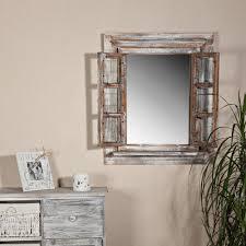 Wandspiegel Spiegel Bilderrahmen Fensterladen Fotorahmen Holz 64cm