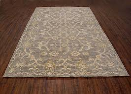 traditional hand knotted modern area rug grey ivory color 100 wool rugs 6 x 9