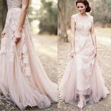 blush pink dusty rose appliqued lace wedding dresses country style