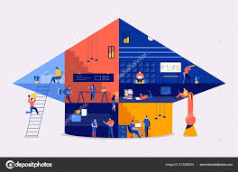 Small School Building Design Illustrations Flat Design Concept Working Space Building