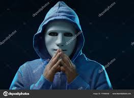 male hacker in mask stock photo