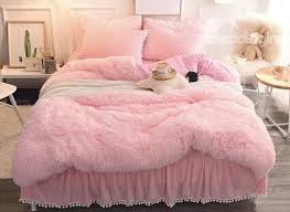 54 princess style solid pink with quilting bed skirts thick 4 piece fluffy bedding sets
