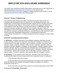 Nda Non Compete Template Free Employee Non Disclosure Agreement Nda Pdf Word