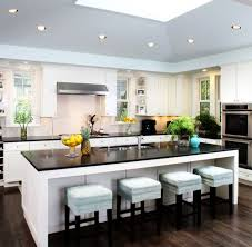 Luxurious Modern Kitchen Design Combine Long Rectangle Island Dark Granite  Kitchen Countertop White Stained Wall Painted Dark Brown Alluring Barn  Wooden ...