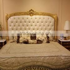 European Concise Gold and White Wood Carved Bedroom Furniture Set ...