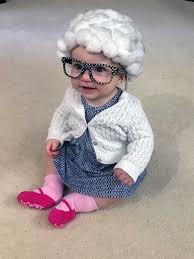 photo by rachel allen addalyn allen joyfully wears her diy baby grandma costume crafted by her mother rachel