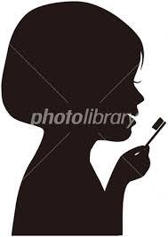 歯を磨く女の子の横顔シルエット イラスト素材 2955628 フォト