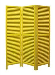 Free standing outdoor privacy screens Plants Image Is Loading Freestanding3panelyellowshutterroomdividerindoor Newspodco Freestanding Panel Yellow Shutter Room Divider Indoor Outdoor