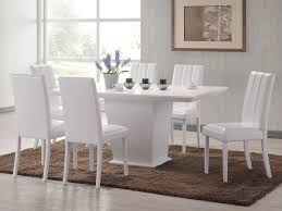 heartlands feather 160cm white dining table and 6 white faux leather chairs set
