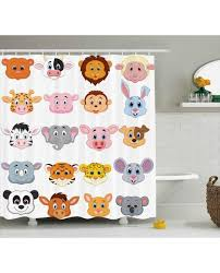 cartoon shower curtain farm safari animals kid print for bathroomwaterproof and fabric for kids