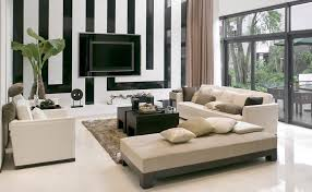 Black and white chairs living room Interior Living Room With Black And White Striped Wall And Modern Furniture Home Stratosphere 67 Luxury Living Room Design Ideas Designing Idea