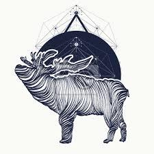 Fototapeta Jelen Tetování Geometrický Styl Grafika