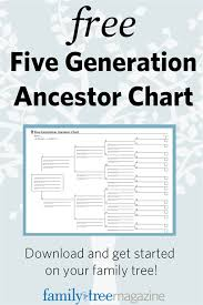 Free Forms Five Generation Ancestor Chart Family