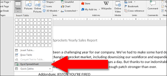Excel Word How To Use Excel Style Spreadsheets In Microsoft Word