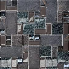 porcelain glass tile wall backsplash grey crystal art pattern design mosaic tiles washroom wall