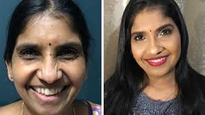 sidebyside of indian woman with before and after undereye concealer on dark circles
