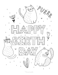 Elegant cat with large tail. 55 Best Happy Birthday Coloring Pages Free Printable Pdfs