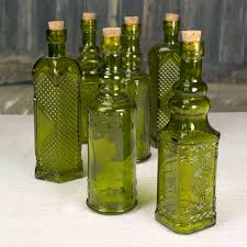 glass bottles with corks vintage styled bud vases 5 5 in olive green