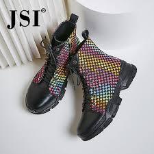 <b>JSI</b> Winter <b>Ankle Women Boots</b> Round Toe Mixed Colors Zip Ladies ...