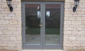 grey coloured timber french doors