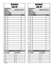 Baseball Softball Line Up Roster Card For Coaches Dugout