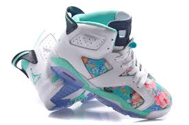 jordan shoes for girls 2014 black and white. womens air jordan 6 gs floral custom white turquoise for sale in girls size-3 shoes 2014 black and n