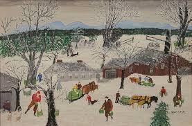 this 1954 oil on masonite work by the iconic american folk artist grandma moses titled