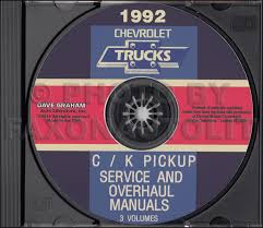 chevy c k pickup suburban blazer wiring diagram manual original 1992 chevrolet c k truck service and overhaul manuals on cd pickup suburban blazer 30 00