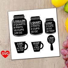 Gallon Quart Conversion Chart Measuring Cups Svg File A Printable Kitchen Conversion