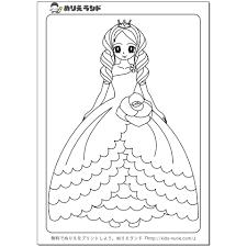 お姫様ぬりえ⑥ ぬりえ無料ダウンロード