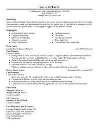 Social Work Resume Example Case Manager Services Classic 1 Useful