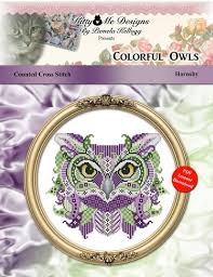 cross stitch owl series colorful owls