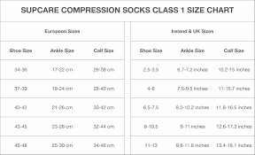 Compression Socks Chart Supcare Size Chart Clothesrack