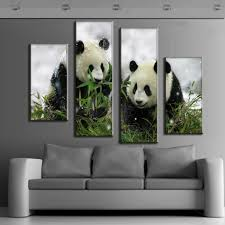 4 pcs set animal canvas print cute panda from china large canvas paintings modern wall paintings canvas wall art picture in painting calligraphy from home  on panda canvas wall art with 4 pcs set animal canvas print cute panda from china large canvas