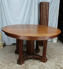 antique round oak dining table 54 diameter 1 thick top limbert