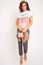 rose coco slogan mesh layer t shirt sarah