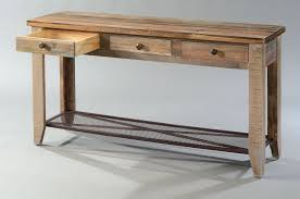 solid pine wood rustic sofa table with drawers and iron mesh shelf multi colored finish