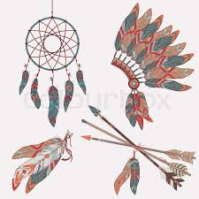Indian Chief Dream Catcher Amazing Vector Colorful Ethnic Set With Dream Catcher Feathers Arrows And