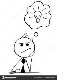 電球と考えるビジネスマンの漫画イラスト ストックベクター Ursus