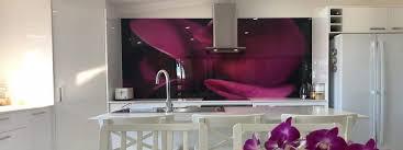 digital printed glass splashback purple tulip