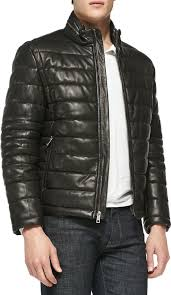 andrew marc quilted leather jacket black