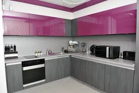 modern purple cabinet design for small kitchen with grey color schemes