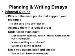 test taking skills make sure you prove what you know essay tests planning writing essays informal outline pick out the main points that support your response