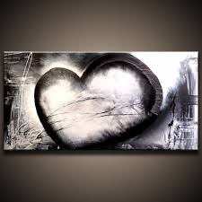 black and white love abstract painting on canvas