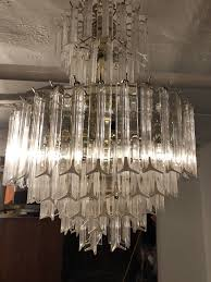 vintage large acrylic lucite prism waterfall chandelier 7 tier murano style cut