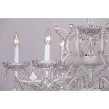 white 6 branch shallow cut glass chandelier