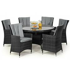 milan rattan outdoor garden furniture 6 seater grey round dining table set